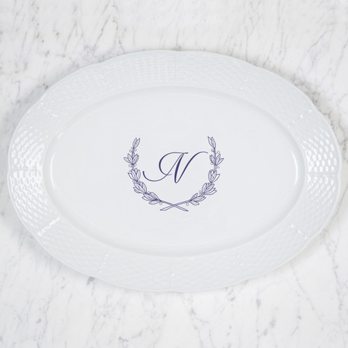 Paulette-Namnoum WEDDING WEAVE MONOGRAMMED OVAL PLATTER WITH HANDWRITTEN BACK INSCRIPTION