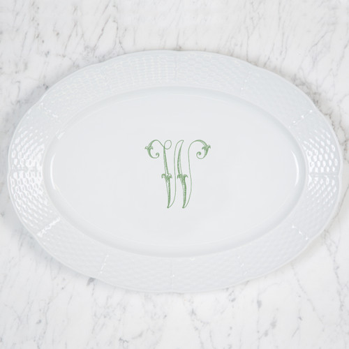 HARR-WARD WEDDING MONOGRAMMED WEAVE OVAL PLATTER