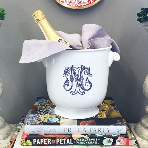 HESSE-BROOKS WEDDING Scroll Handled Champagne Bucket With Monogram