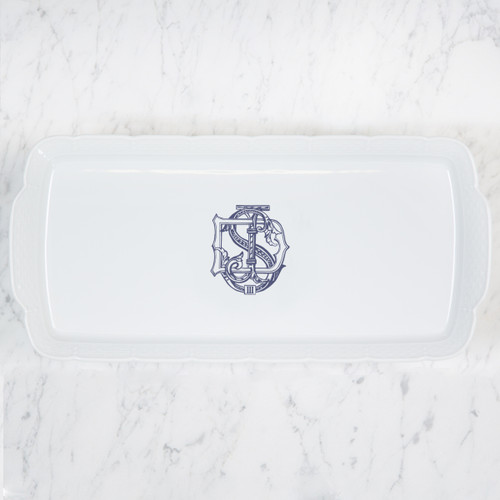 Blase-Sanders WEDDING MONOGRAMMED WEAVE RECTANGLE PLATTER