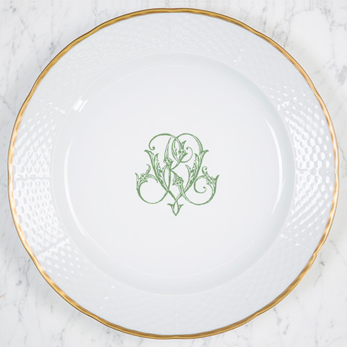 """Gore-Galluzzo WEDDING MONOGRAMMED WEAVE 12"""" DINNER/CHARGER 24K GOLD RIMMED"""