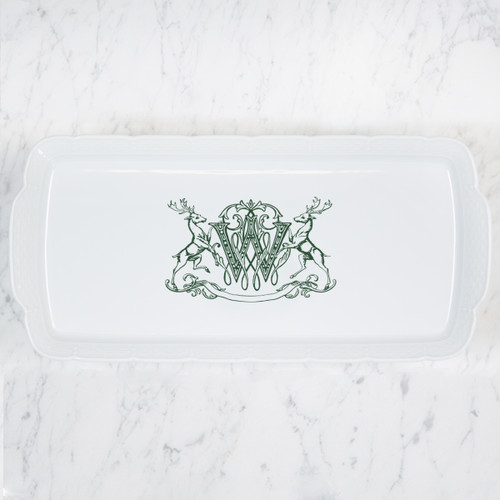 SCHLAFLY-WRIGHT WEDDING HOLIDAY MONOGRAMMED WEAVE HOSTESS RECTANGLE PLATTER