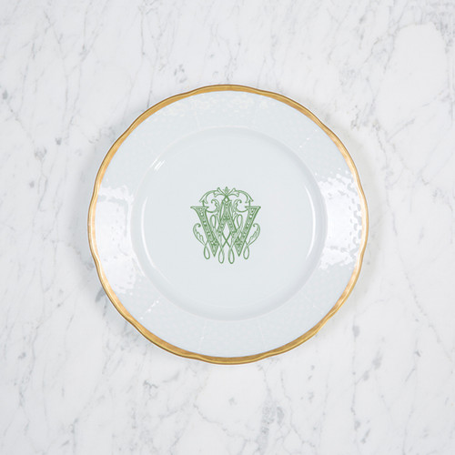 Sally-Incitto MONOGRAMMED WEAVE SALAD - 24K GOLD RIMMED - W