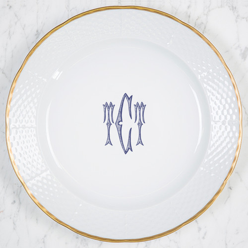 "Arsala-Carlson WEDDING MONOGRAMMED WEAVE 12"" DINNER/CHARGER 24K GOLD RIMMED"