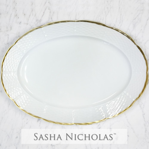Weave Simply White 24K Gold Oval Platter