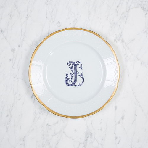 Lyons-Sanders WEDDING WEAVE 24K GOLD SALAD PLATE WITH MONOGRAM