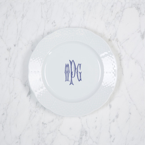 MOODY-PACZESNY WEDDING WEAVE SALAD PLATE WITH MONOGRAM