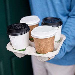 Compostable recycled paper coffee cups