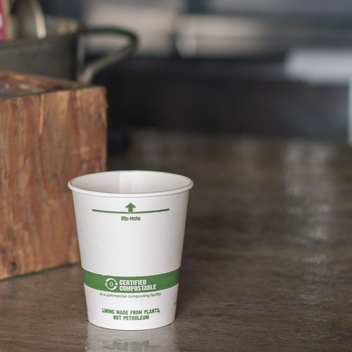 Biodegradable Disposable Coffee Cups Compostable White
