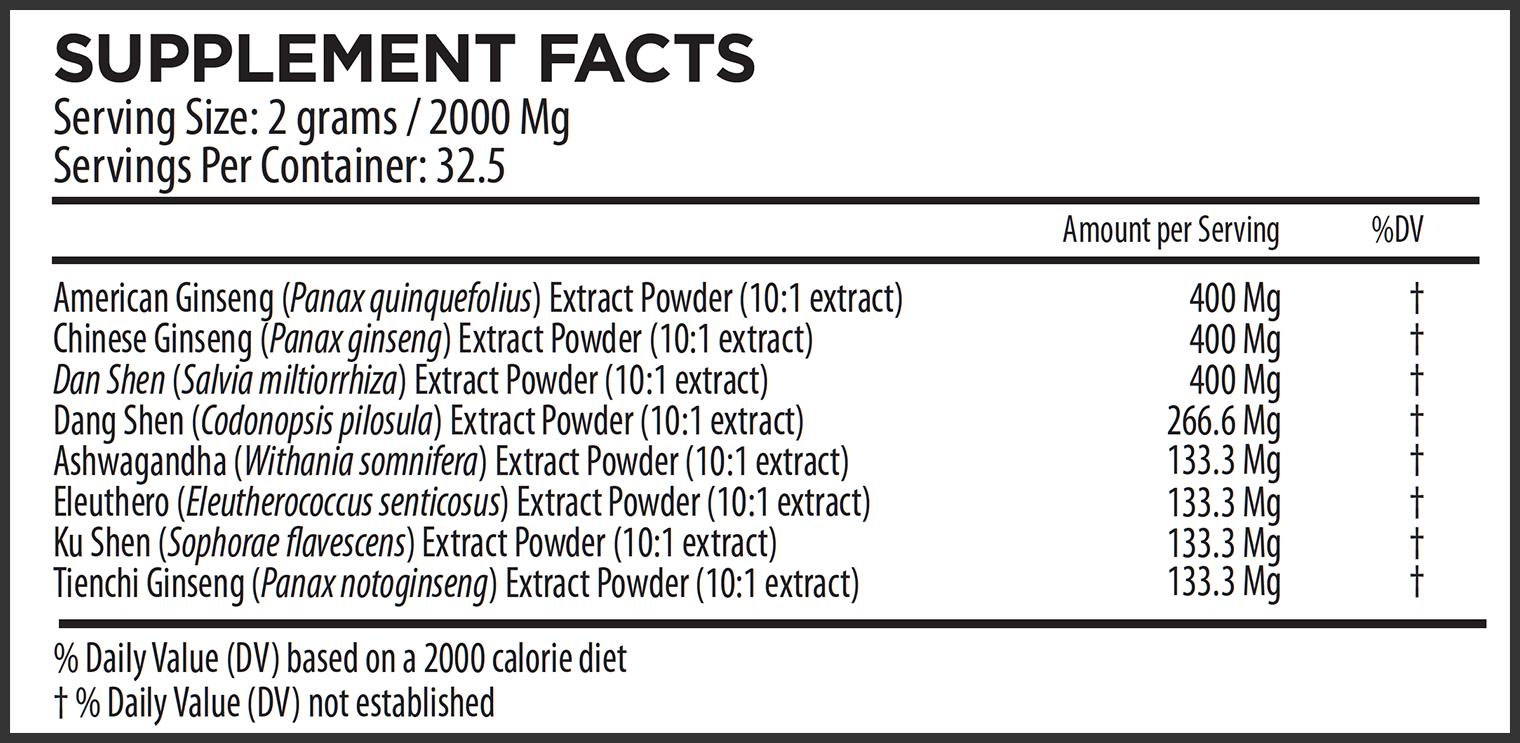 Elephant Mountain Ginseng Formula Supplemental Facts