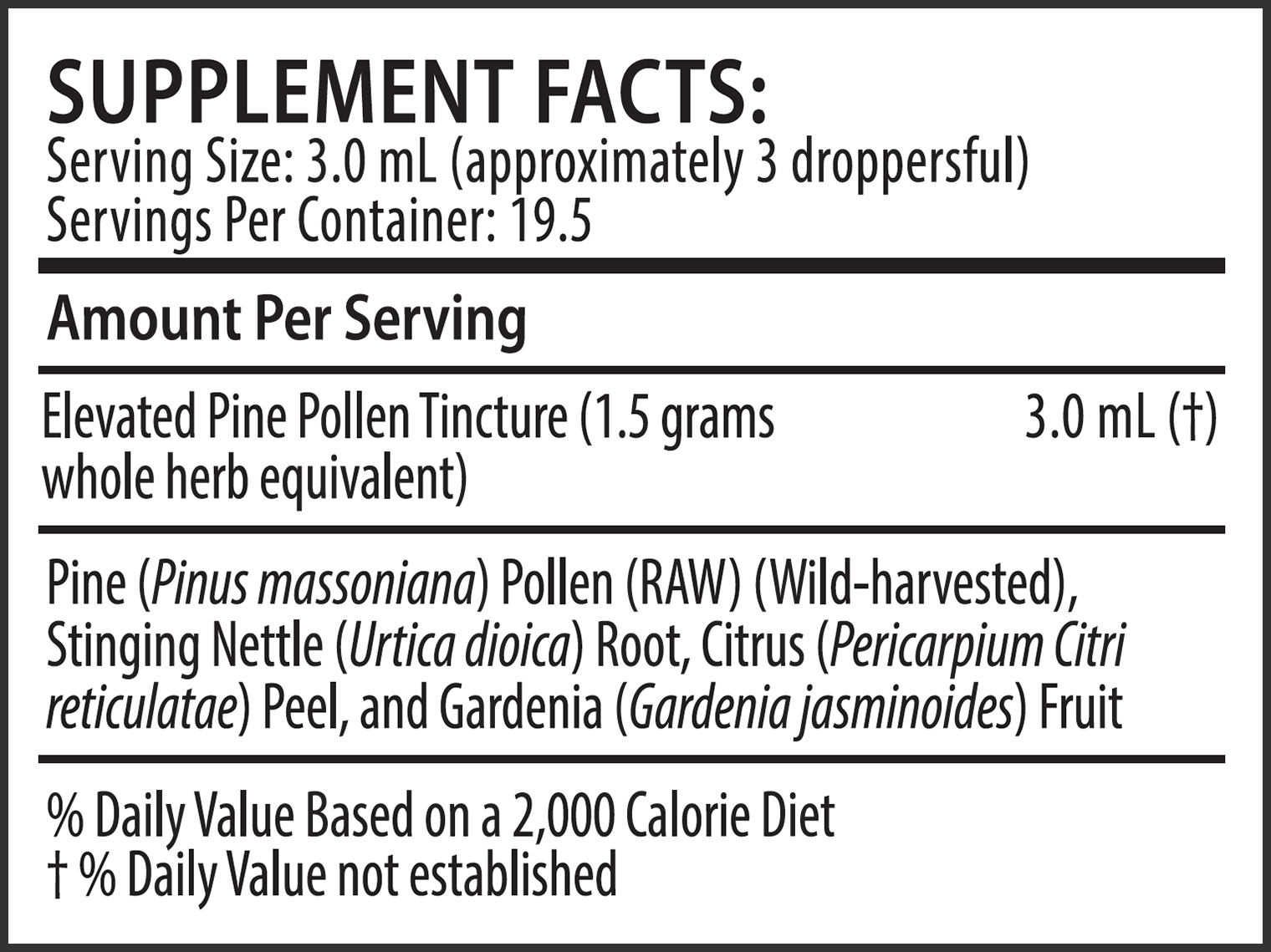 Elevated Pine Pollen Tincture (With Nettle Root and Chen Pi) Supplement Facts