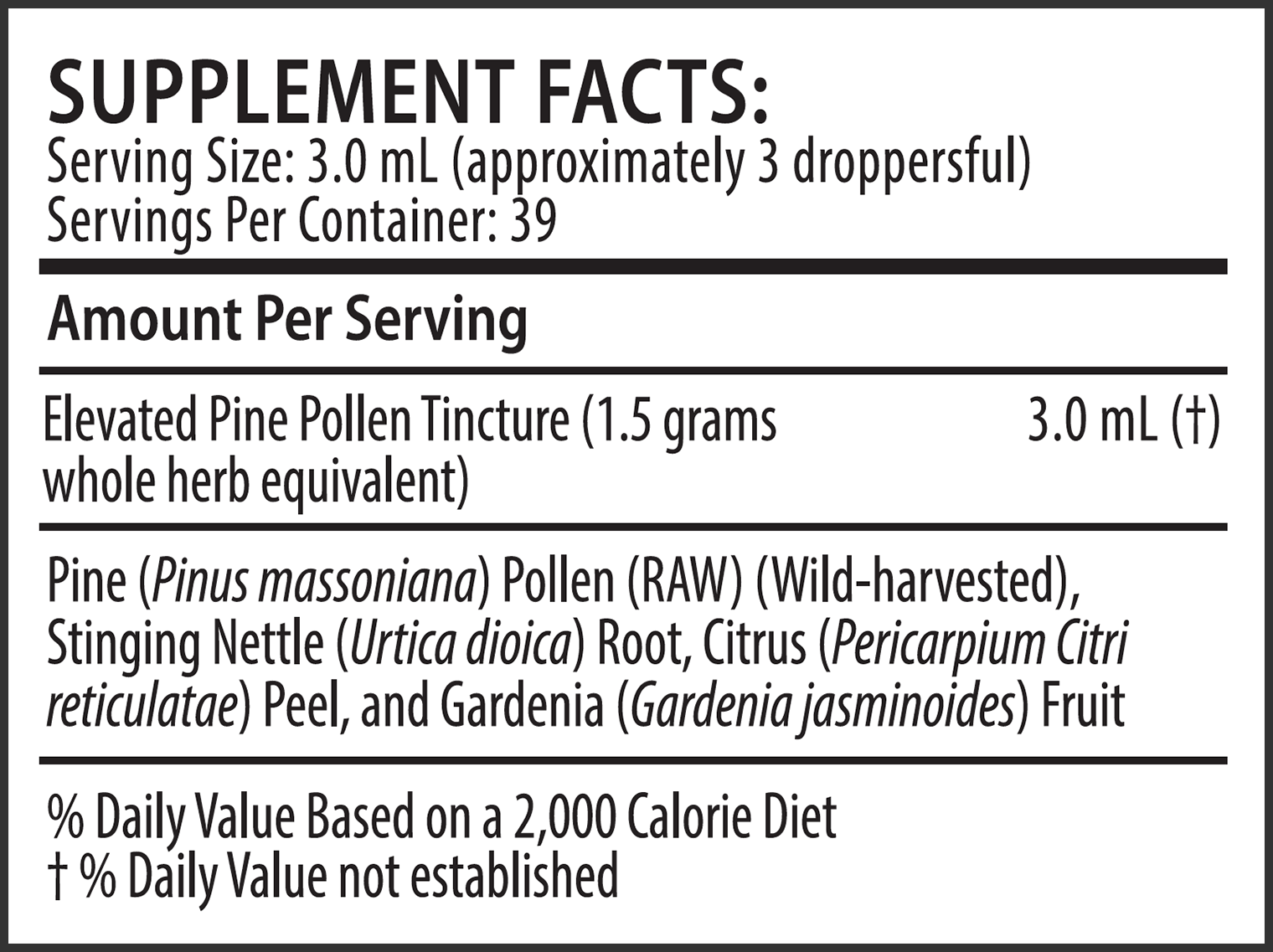 Elevated Pine Pollen Tincture 4 Ounce Supplement Facts