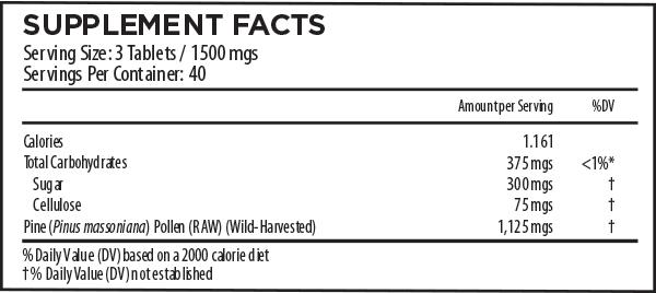 Pine Pollen Tablets Supplement Facts