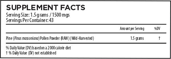 Pine Pollen Supplement Facts 65 Grams