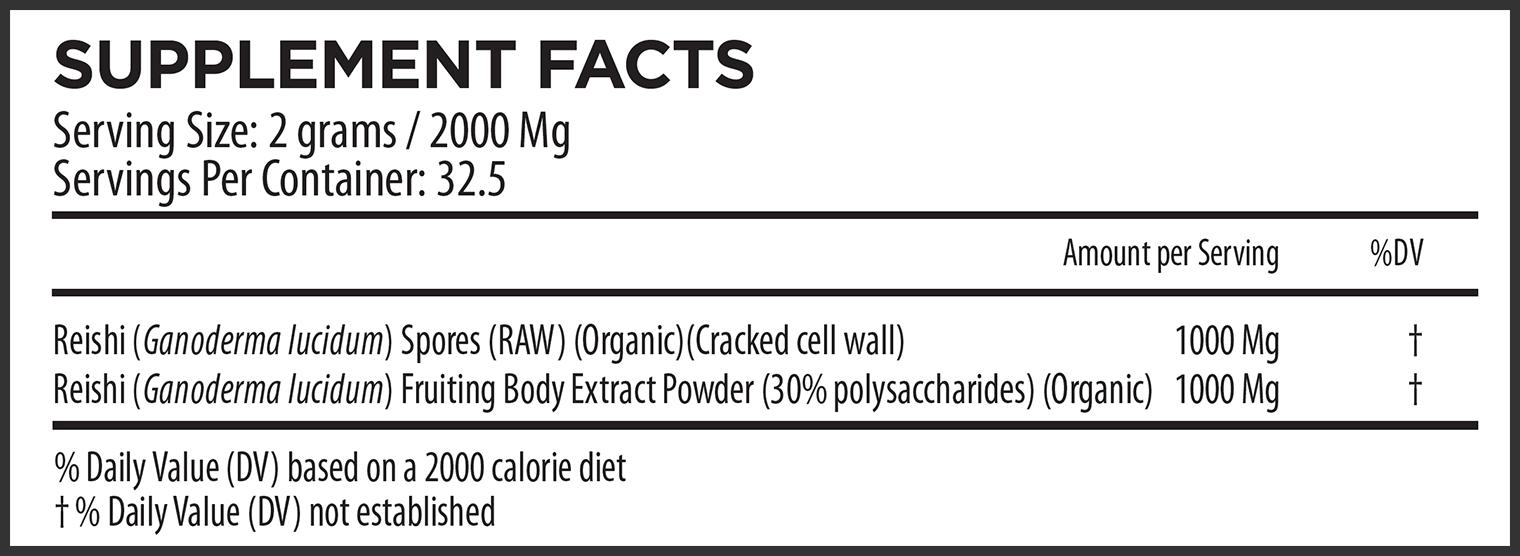 Reishi Buddha Blend Extract Supplement Facts