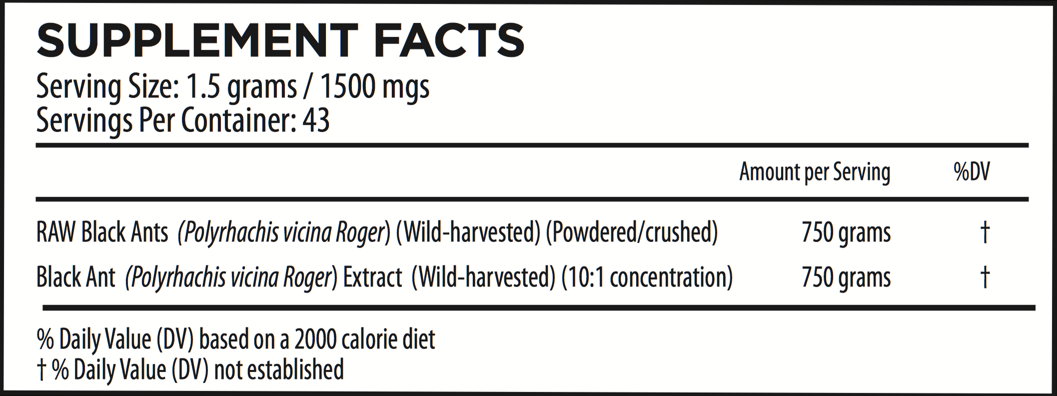 Shilin Stone Forest Wild-Harvested Black Ants Supplement Facts