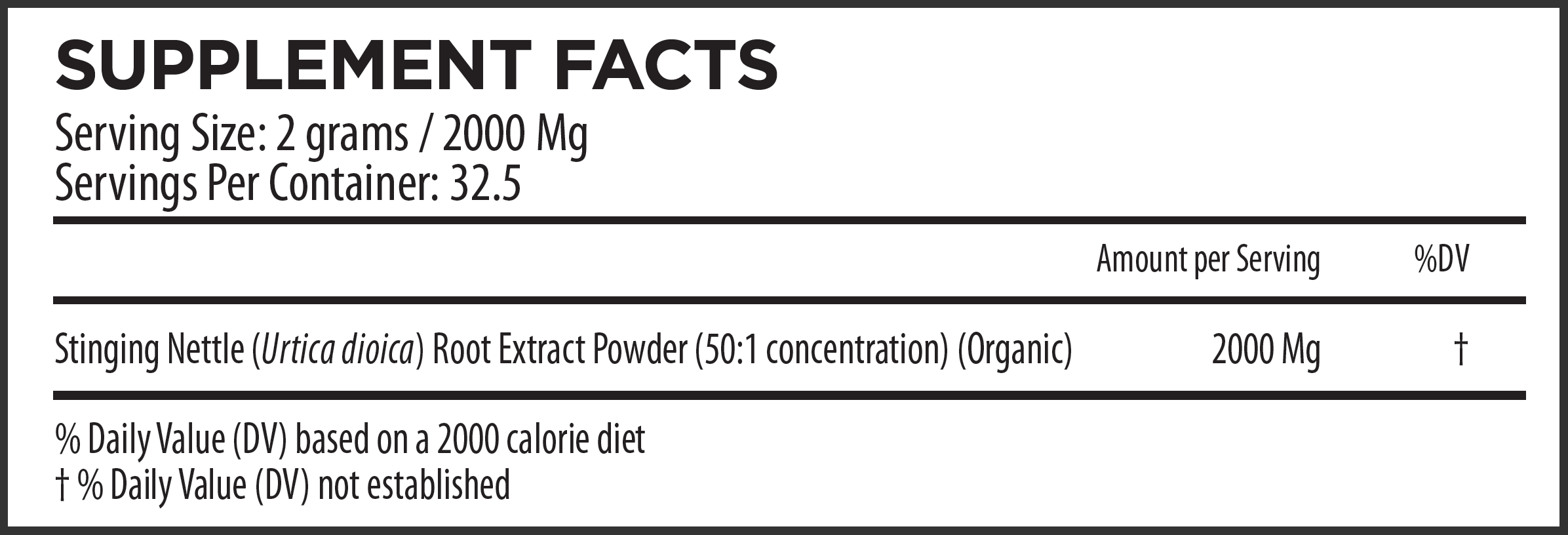 Stinging Nettle Root Extract Supplement Fact