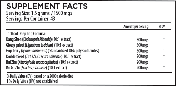TapRoot Deep Jing Formula Supplement Facts