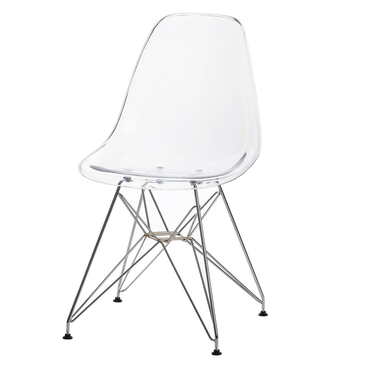 Attirant Eames Style Side Chair, Clear W/ Metal Base