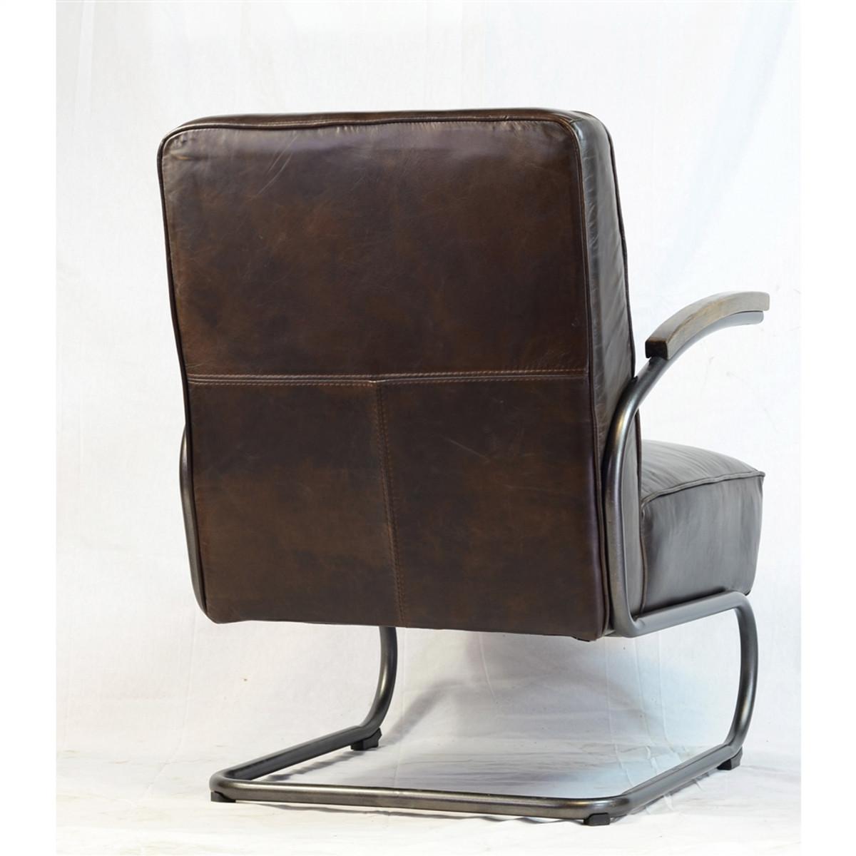 Savannah Club Chair In Antique Brown Leather