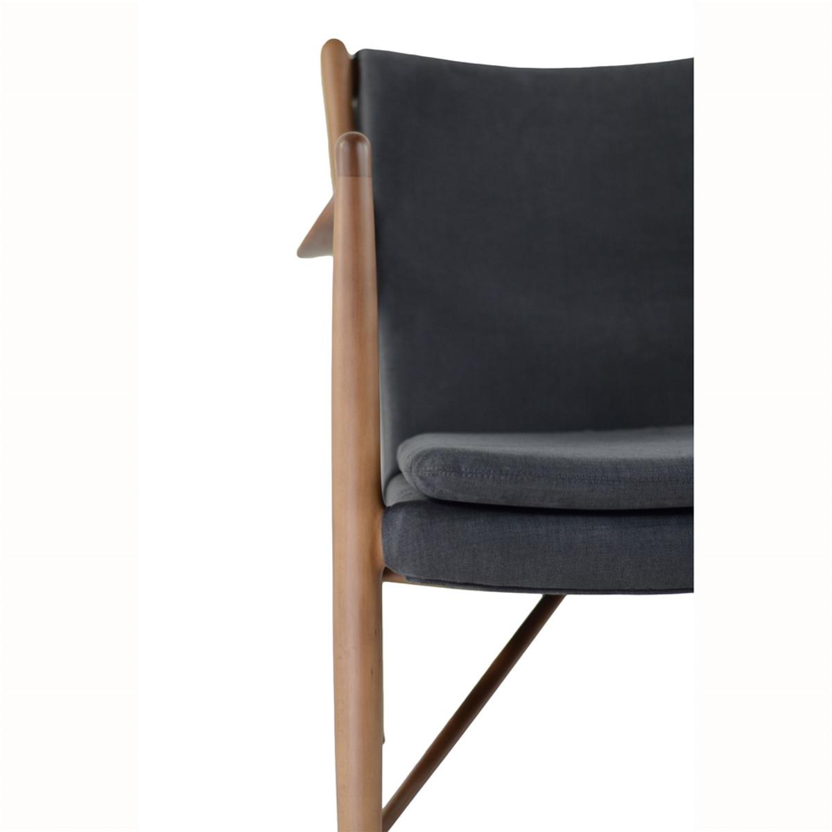 Finn Juhl Inspired 45 Chair Walnut Frame In Dark Grey 5