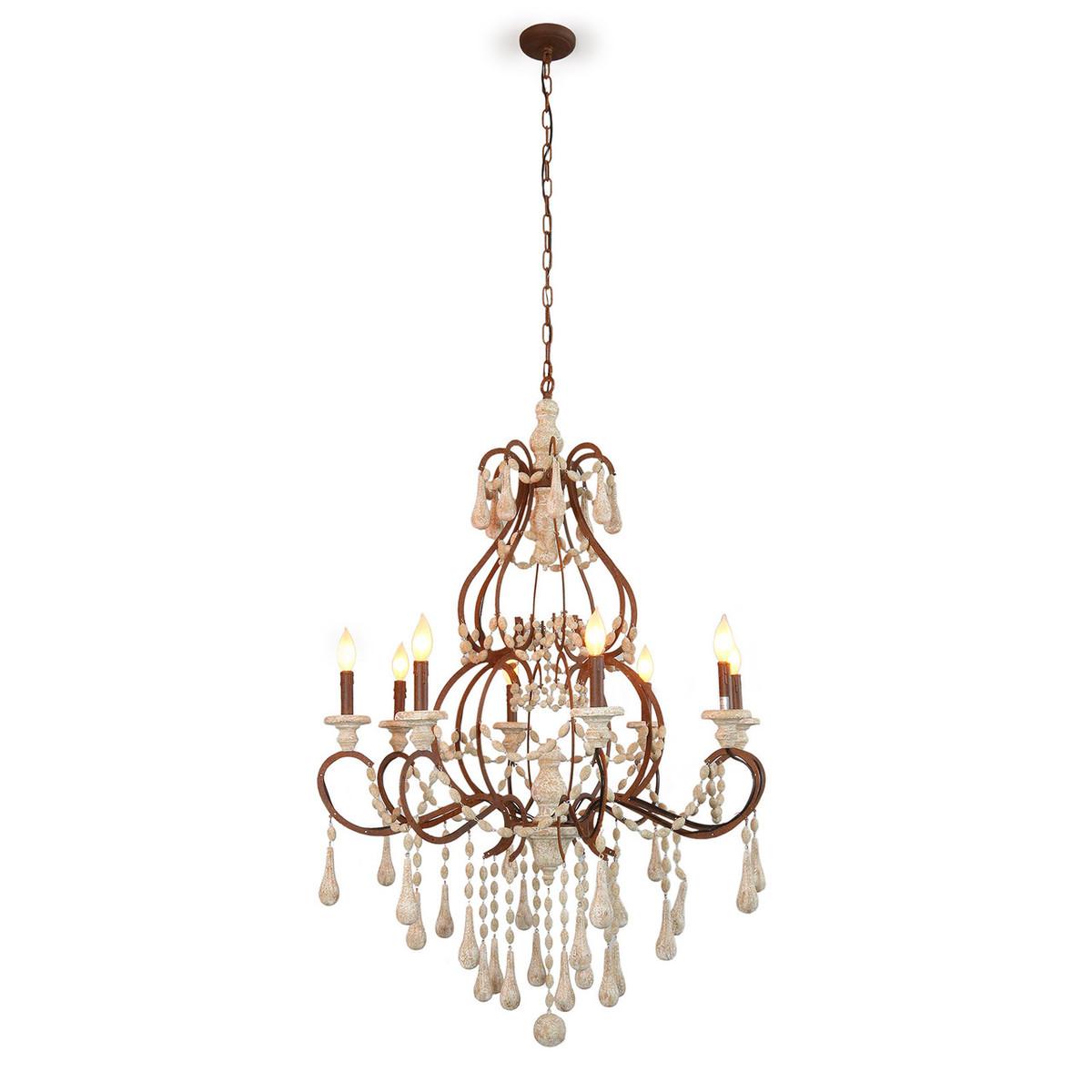 Elegant wood bead and iron chandelier aristocrat elegant wood bead and iron chandelier arubaitofo Gallery