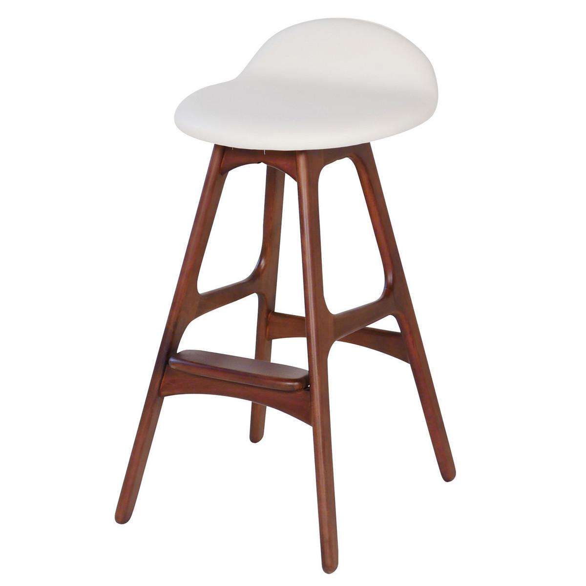 baron teak bar stool white leather