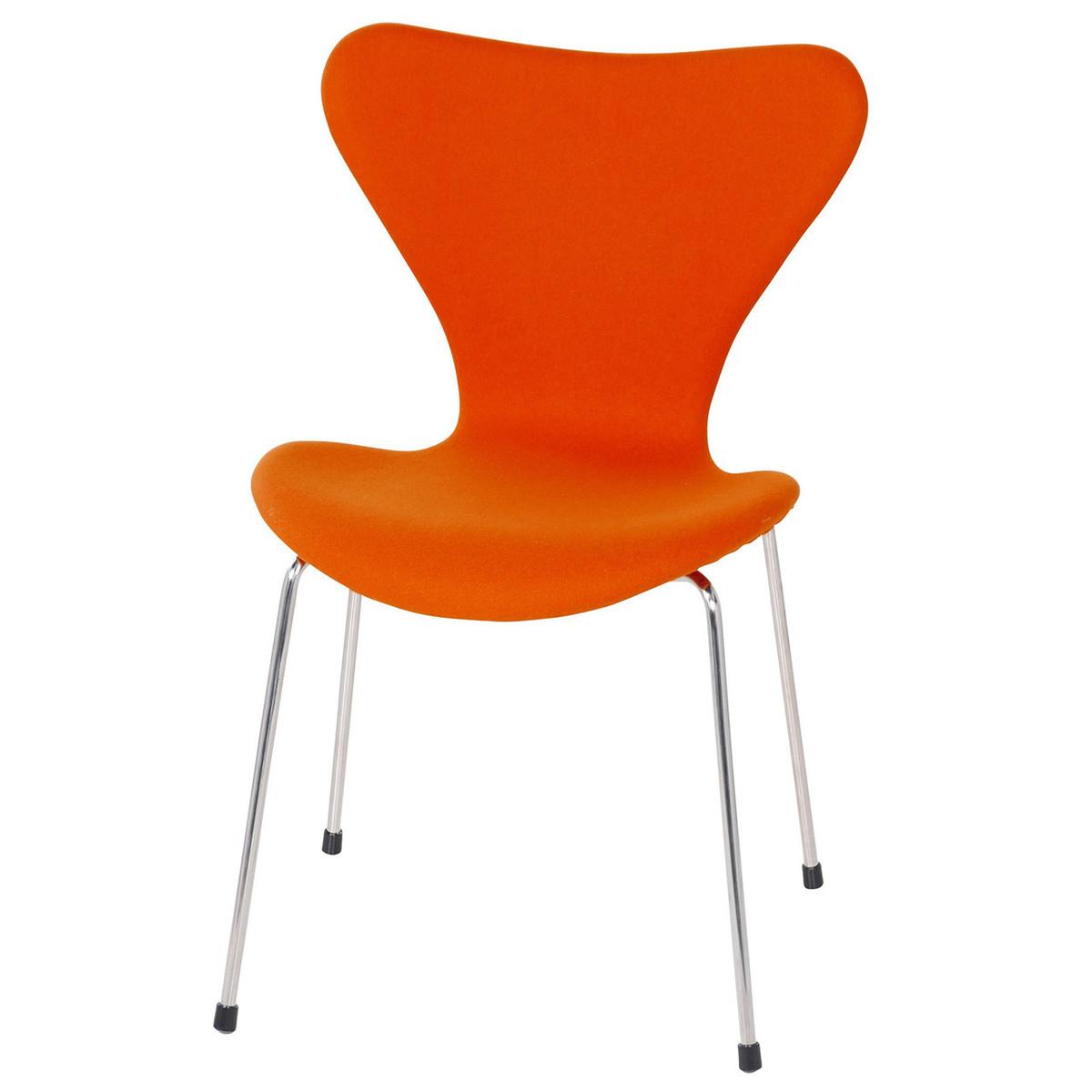 Series 7 Vintage Orange Wool Side Chair Metal Legs