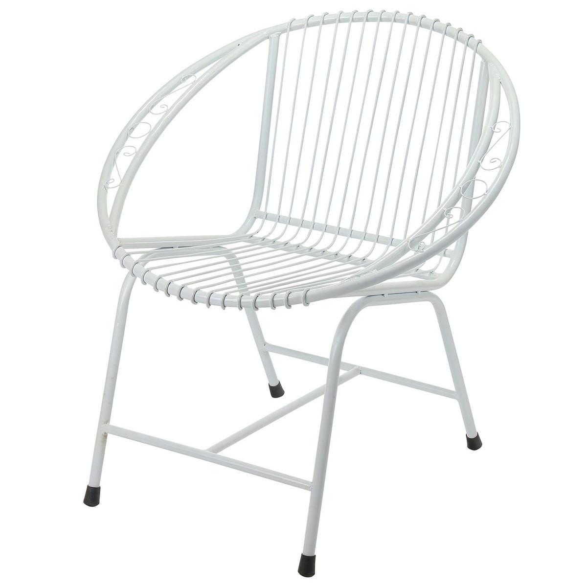 Veranda Metal Wire Chair, White Filigree