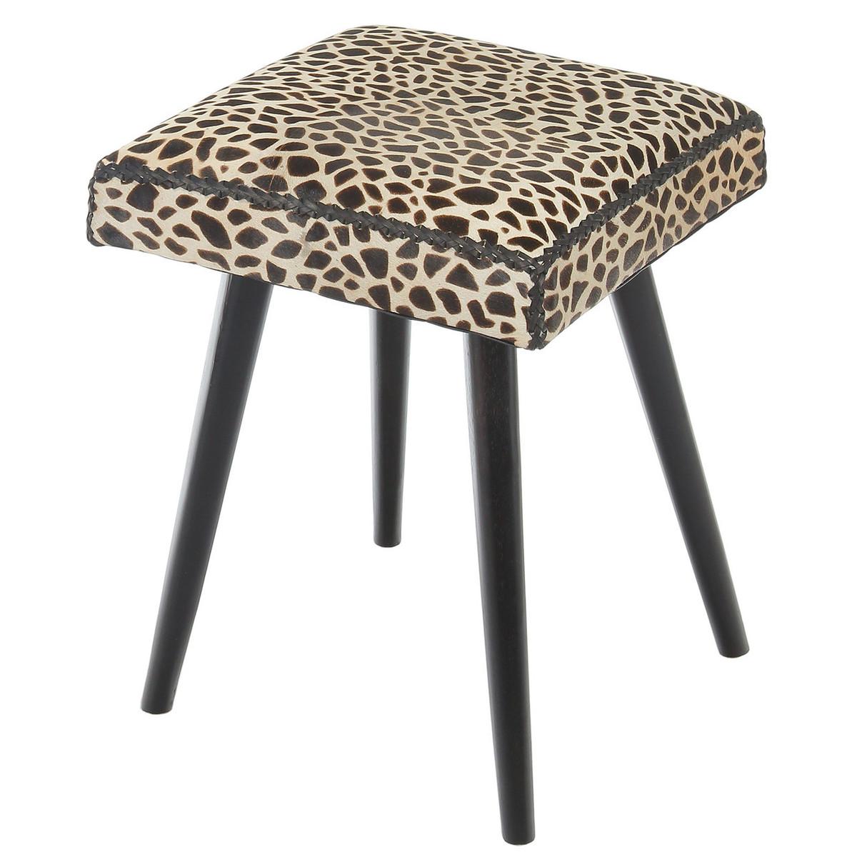 Safari Cow Hide Amp Mahogany Accent Stool Leopard Print