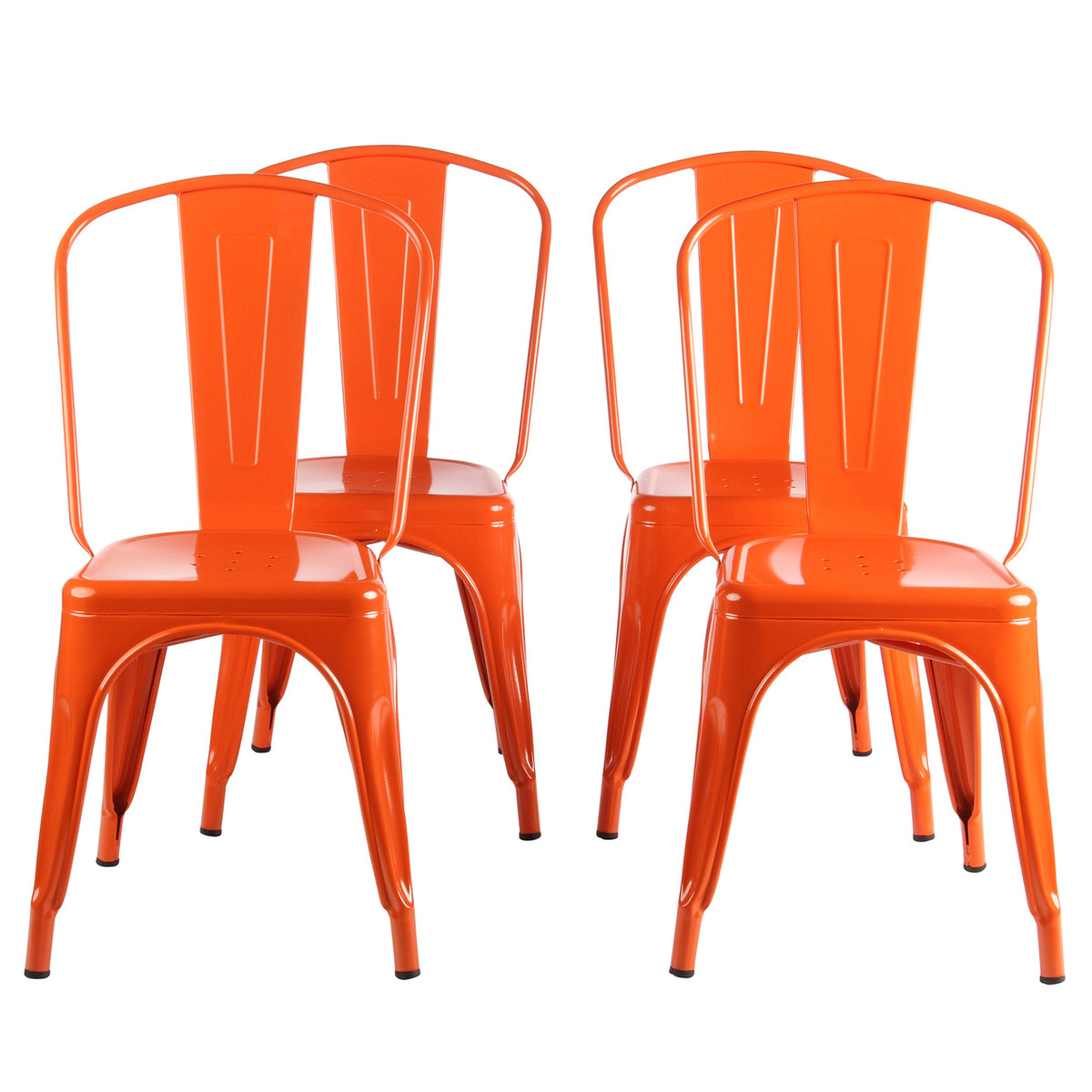 Exceptionnel Metal Industrial Cafe Dining Chair In Orange, Set Of 4