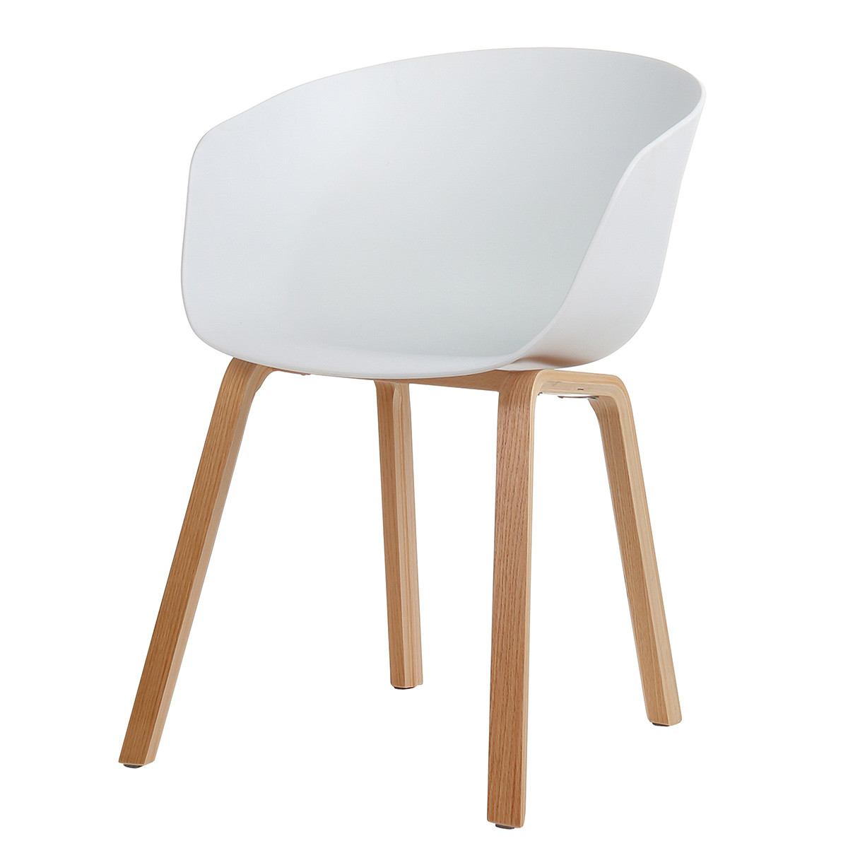 Danish Mid Century Modern White Side Chair, Curved Wood Legs