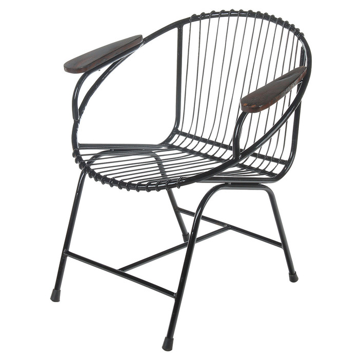 Truckee Metal Wire Chair, Black With Arms
