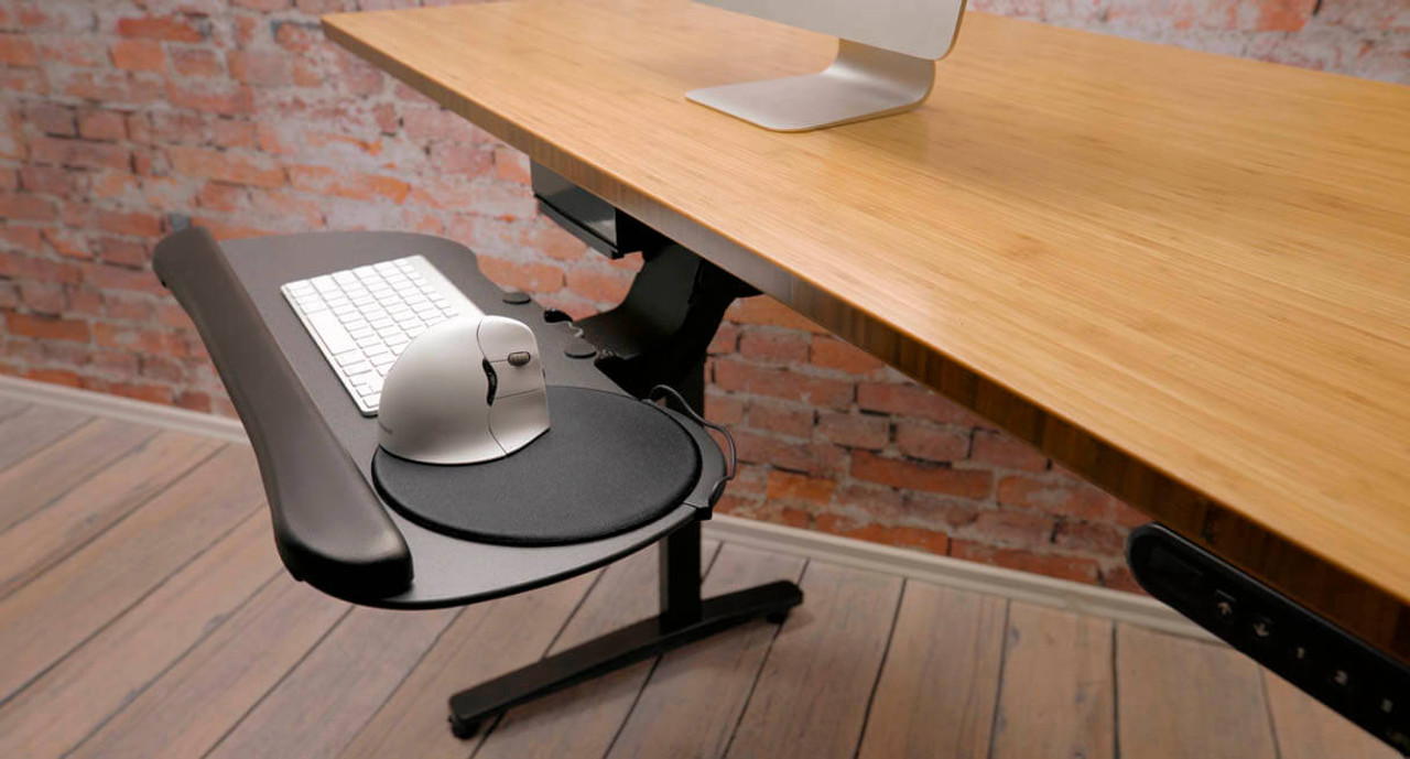 Sliding mouse catcher and cord manager can be switched from right to left & Large Keyboard Tray | Shop UPLIFT Desk