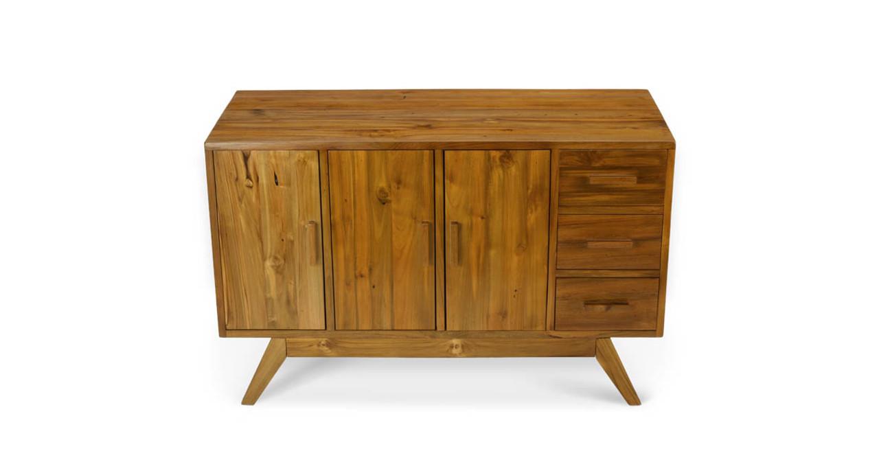 Credenza Dark Brown : Reclaimed teak credenza uplift desk