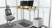 "Our Bamboo Stand Up Desk with 1"" Thick Desktop and V2 Frame boasts a clean look with hidden hardware"