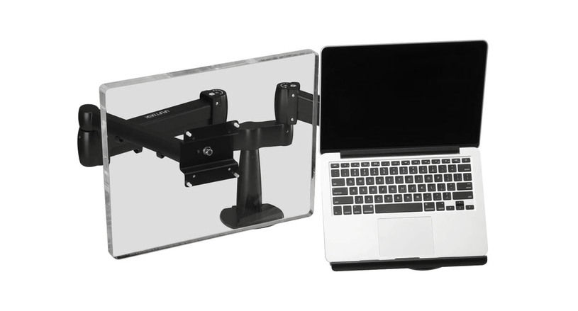 The UPLIFT Laptop Mount for Monitor Arms features a steel frame with distinct front lip, non-slip pads, and elastic straps