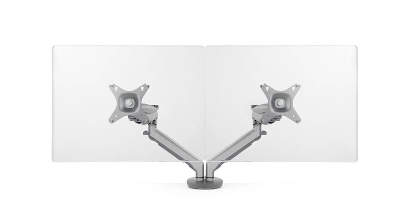 Adjustable tension in the Horizon Dual Monitor Arm lets you pose your monitors where you want them