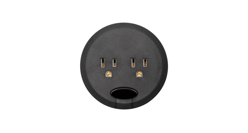 Black power grommets allow you to install a sleek and well-powered hub right on your desktop