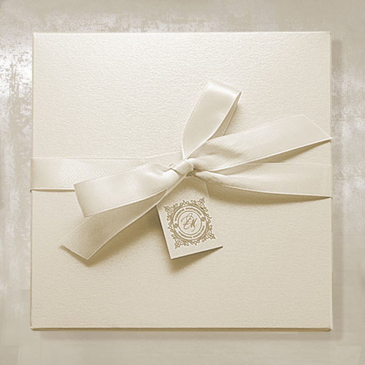 Ivory Invitation Bo With Ribbon And Tag