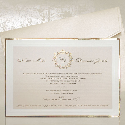 gold wreath wedding invitation