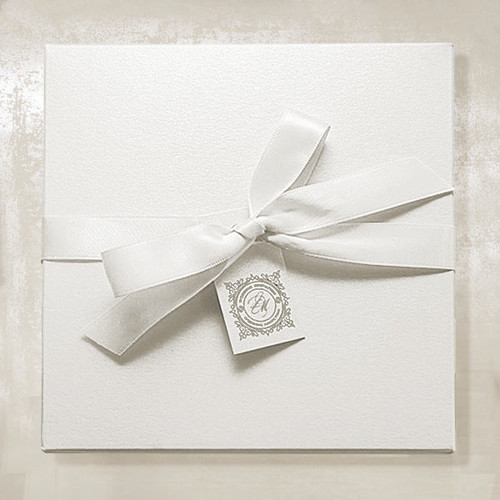 White Invitation Boxes with Ribbon and luxury lining