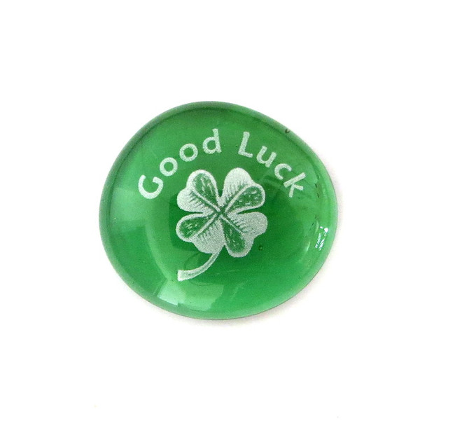 Good Luck with 4 leaf clover... Glass Stone from Lifeforce Glass