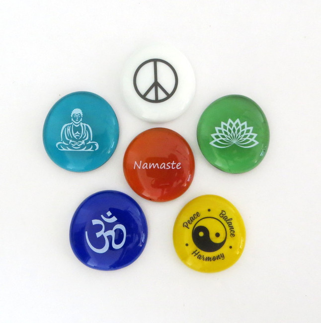 Peace, Balance and Harmony Stones, set of six... From Lifeforce Glass