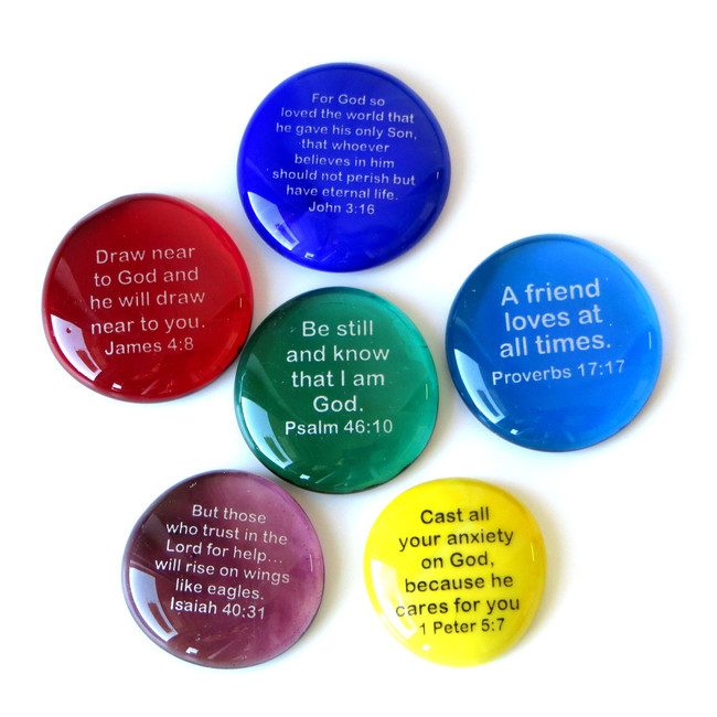 Scripture Stones Set I, set of six... From Lifeforce Glass