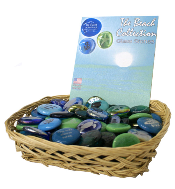 Beach Collection of Glass Stones, 100 nautical images and sayings blues and greens.