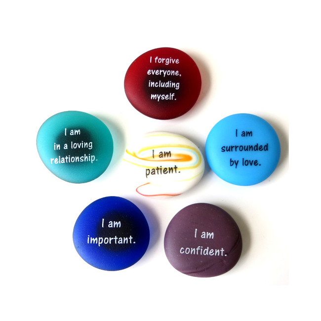 Affirmation Magnets, Set III, Six Frosted Glass Magnets