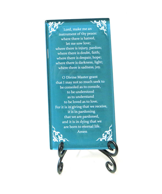 Inspirational Glass Plaque- The Prayer of St. Francis