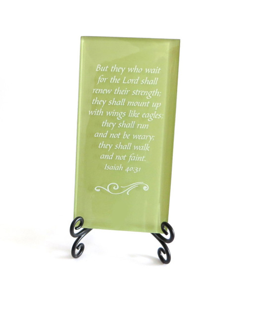 Inspirational Glass Plaque- But they who wait on the Lord shall renew their strength by Lifeforce Glass