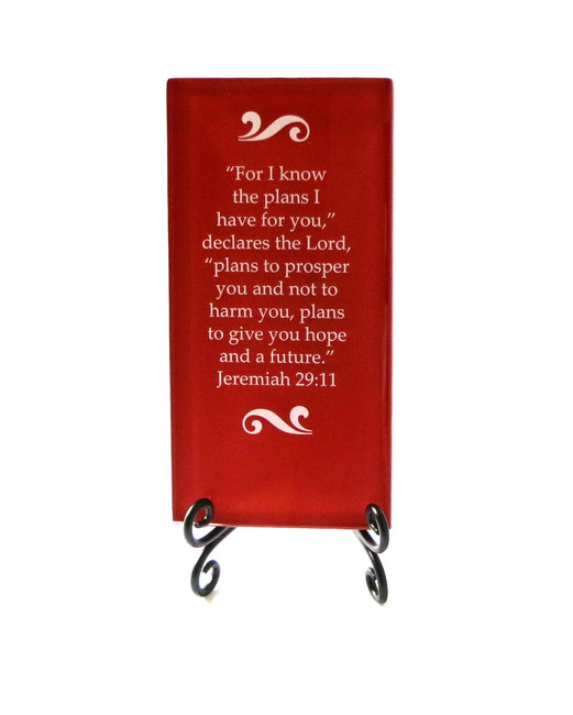 Inspirational Glass Plaque- For I know the plans, from Lifeforce Glass